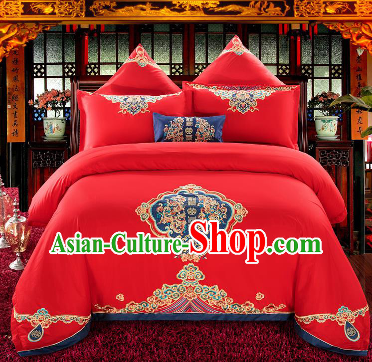 Traditional Chinese Style Wedding Bedding Set, China National Marriage Embroidery Twin Bliss Red Textile Bedding Sheet Quilt Cover Seven-piece suit