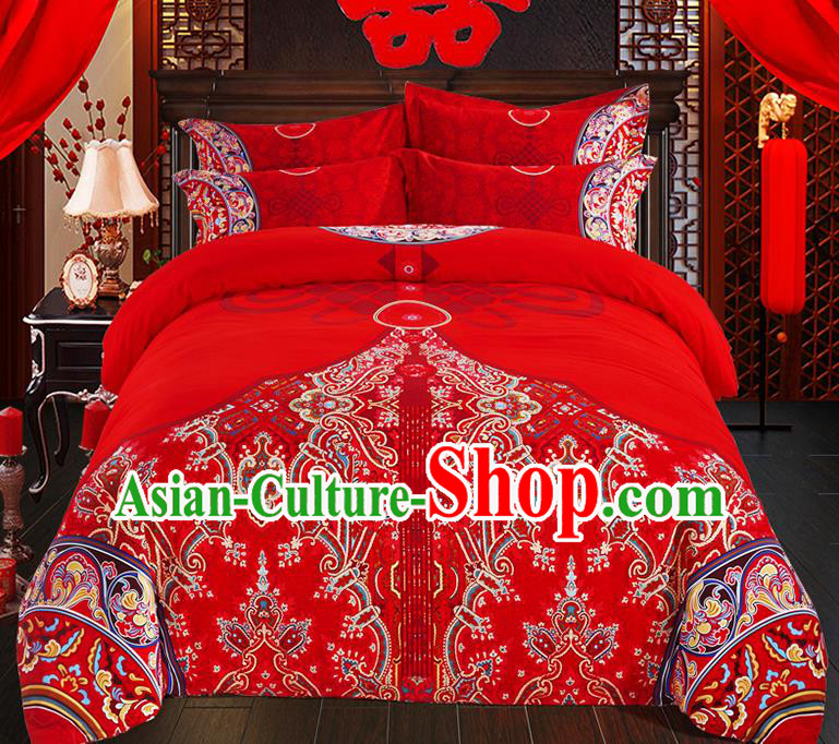 Traditional Chinese Style Wedding Bedding Set, China National Marriage Printing Flowers Red Textile Bedding Sheet Quilt Cover Seven-piece suit