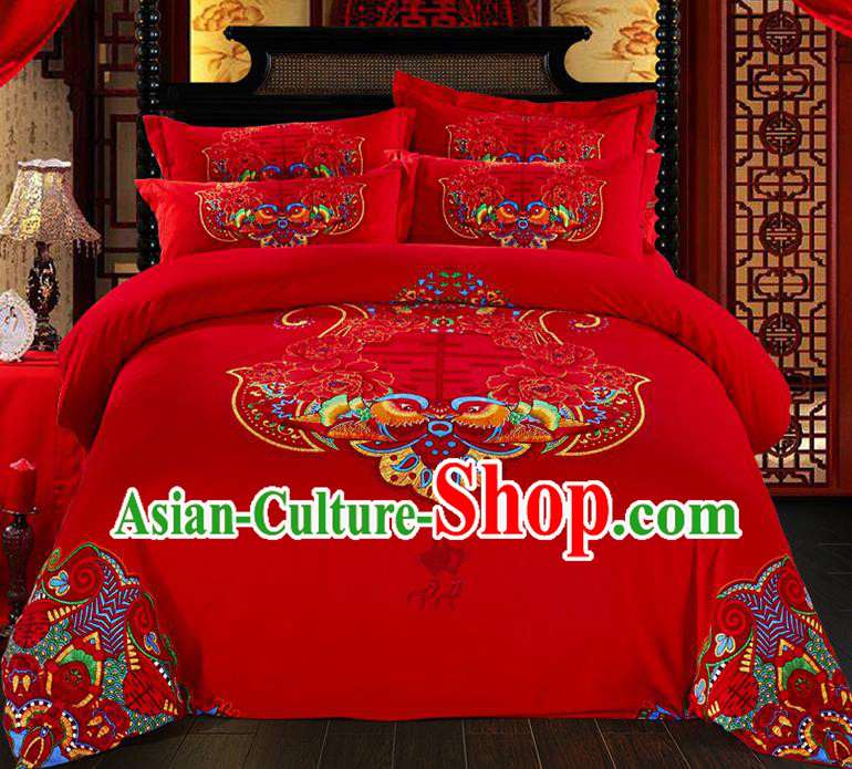 Traditional Chinese Style Wedding Bedding Set, China National Marriage Printing Mandarin Duck Red Textile Bedding Sheet Quilt Cover Seven-piece suit