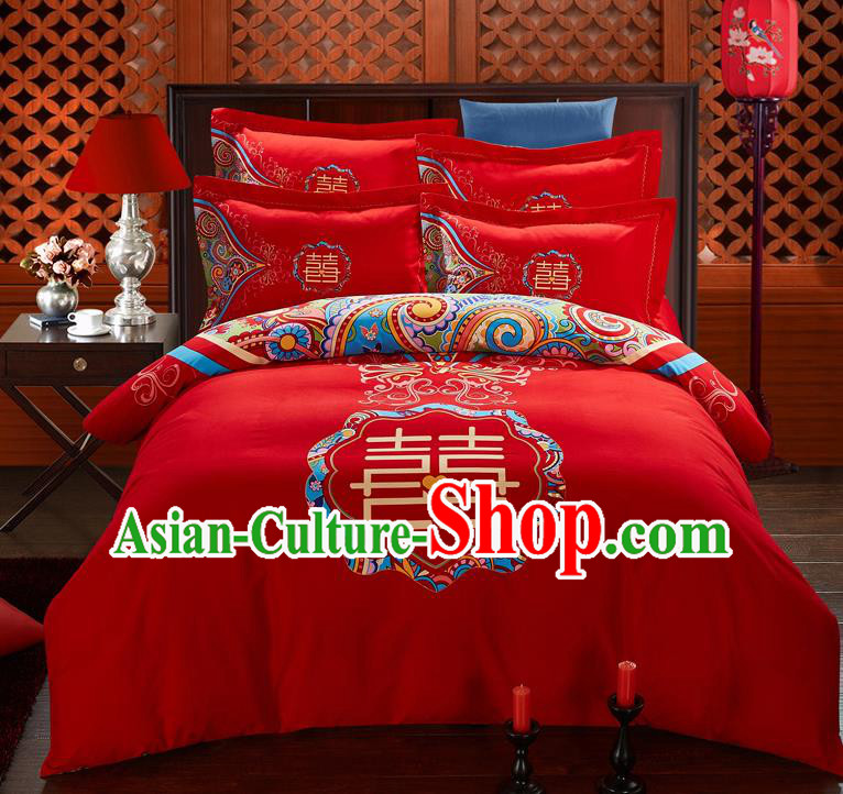 Traditional Chinese Style Wedding Bedding Set, China National Marriage Printing Xi character Red Textile Bedding Sheet Quilt Cover Seven-piece suit