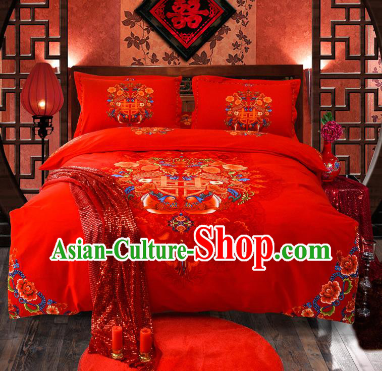 Traditional Chinese Style Wedding Bedding Set, China National Marriage Printing Mandarin Duck Red Satin Textile Bedding Sheet Quilt Cover Four-piece suit