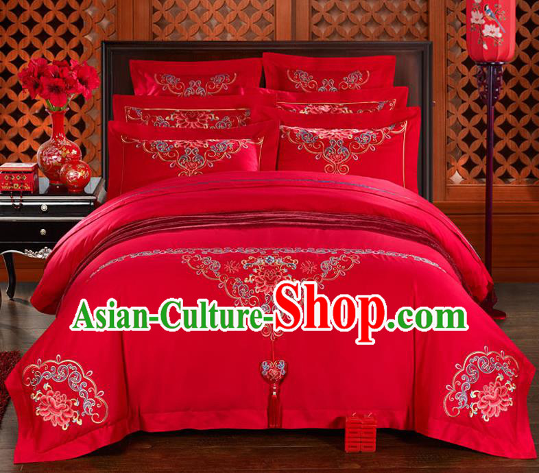 Traditional Chinese Style Wedding Bedding Set, China National Marriage Embroidery Peony Tassel Red Textile Bedding Sheet Quilt Cover Six-piece suit