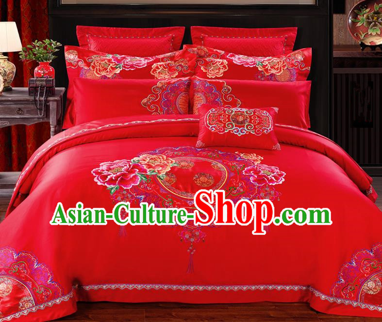 Traditional Chinese Style Wedding Bedding Set, China National Marriage Embroidery Peony Red Textile Bedding Sheet Quilt Cover Ten-piece suit