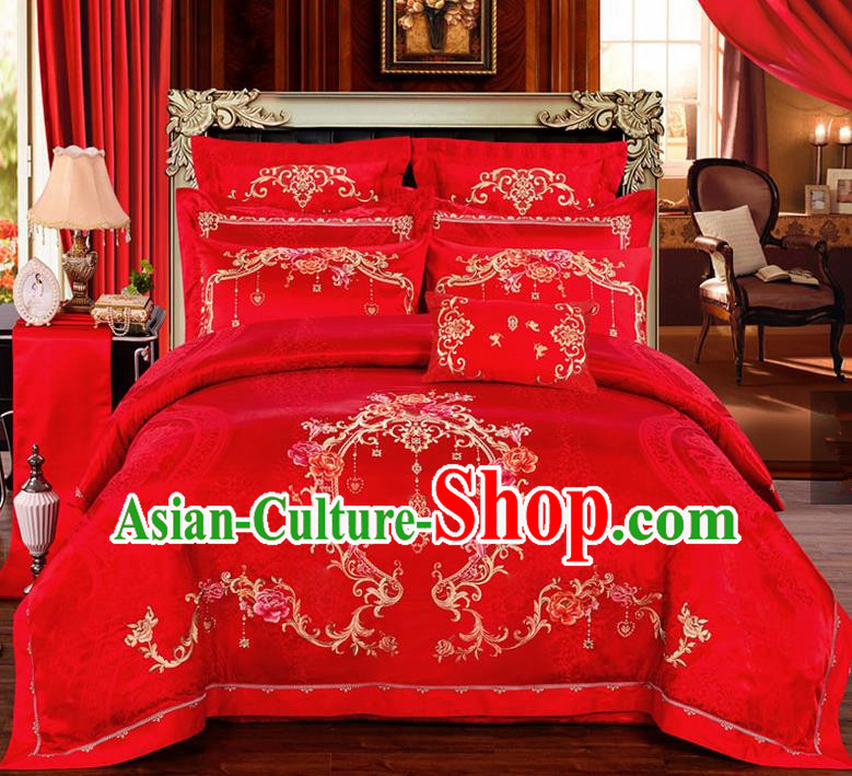 Traditional Chinese Style Marriage Printing Peony Bedding Set Wedding Celebration Red Satin Drill Textile Bedding Sheet Quilt Cover Ten-piece Suit