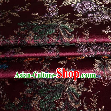 Chinese Royal Palace Traditional Costume Amaranth Satin Brocade Fabric, Chinese Ancient Clothing Drapery Hanfu Cheongsam Material