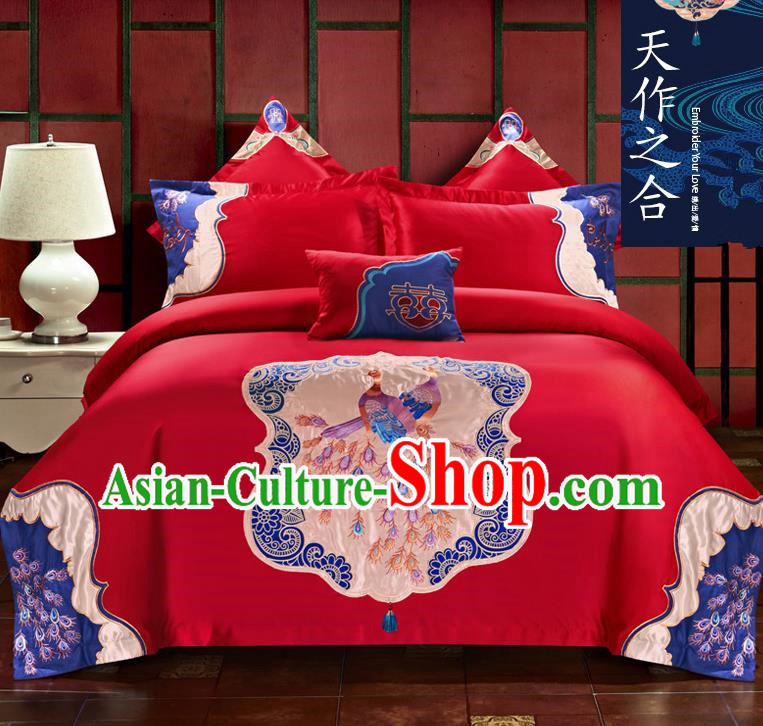 Traditional Chinese Style Wedding Bedding Set, China National Marriage Printing Peacocks Red Textile Bedding Sheet Quilt Cover Seven-piece suit