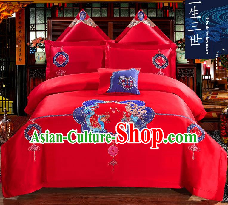 Traditional Chinese Style Wedding Bedding Set, China National Marriage Printing Dragon and Phoenix Red Textile Bedding Sheet Quilt Cover Seven-piece suit