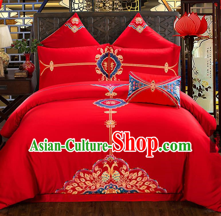 Traditional Chinese Style Wedding Bedding Set, China National Marriage Printing Peony Red Textile Bedding Sheet Quilt Cover Seven-piece suit