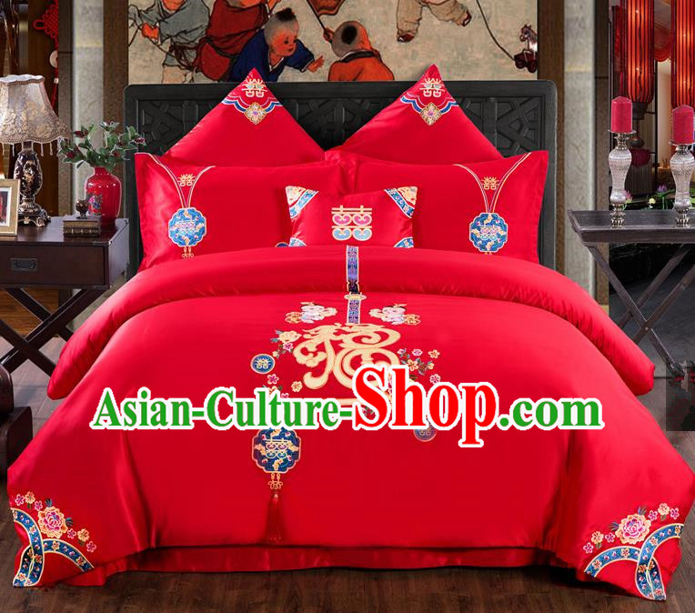 Traditional Chinese Style Wedding Bedding Set, China National Marriage Printing Fu Character Red Textile Bedding Sheet Quilt Cover Seven-piece suit