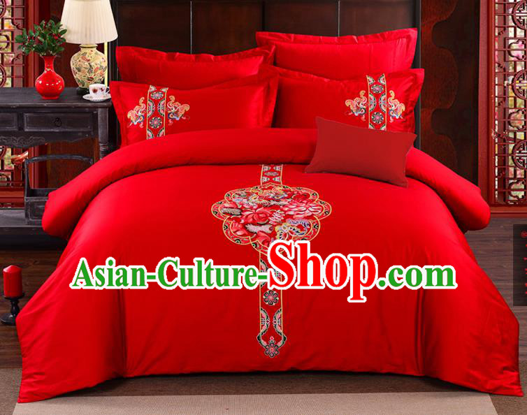 Traditional Chinese Style Marriage Bedding Set, China National Printing Phoenix Peony Wedding Red Textile Bedding Sheet Quilt Cover Seven-piece suit