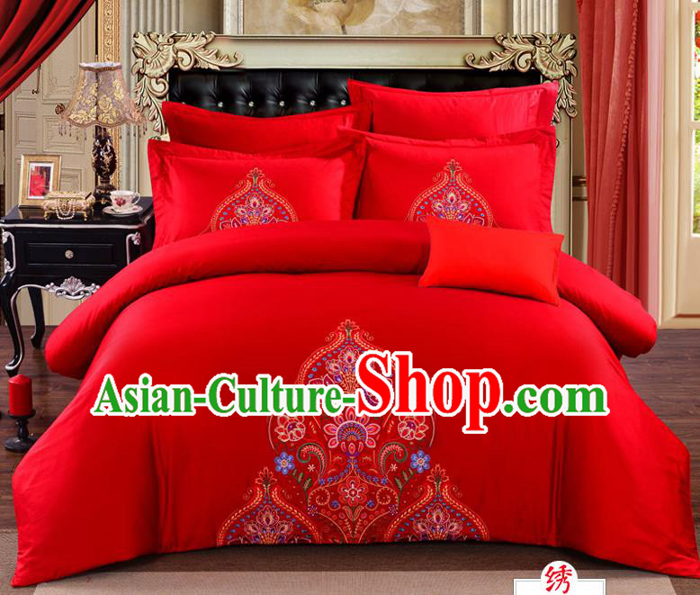 Traditional Chinese Style Marriage Bedding Set, China National Printing Peony Wedding Red Textile Bedding Sheet Quilt Cover Seven-piece suit