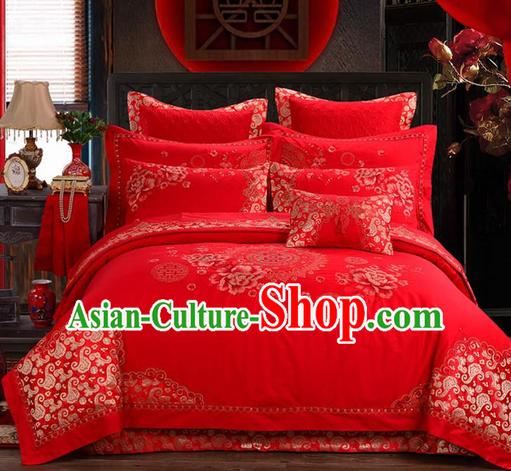 Traditional Chinese Style Marriage Bedding Set Printing Peony Wedding Red Satin Textile Bedding Sheet Quilt Cover Ten-piece Suit