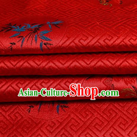 Chinese Royal Palace Traditional Costume Plum Blossom Orchid Bamboo and Chrysanthemum Pattern Red Satin Brocade Fabric, Chinese Ancient Clothing Drapery Hanfu Cheongsam Material