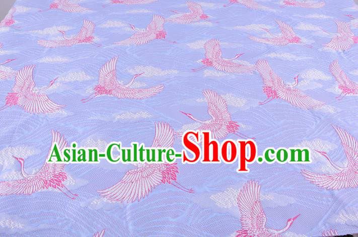 Chinese Traditional Costume Royal Palace Jacquard Weave Crane Lilac Brocade Kimono Fabric, Chinese Ancient Clothing Drapery Hanfu Cheongsam Material