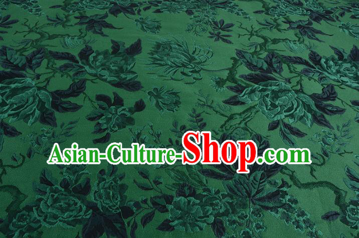 Chinese Traditional Costume Royal Palace Jacquard Weave Chrysanthemum Green Fabric, Chinese Ancient Clothing Drapery Hanfu Cheongsam Material