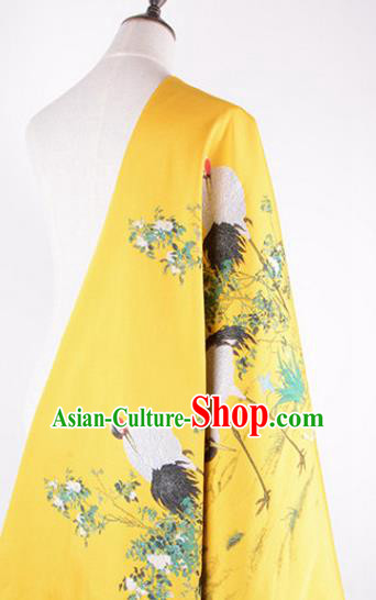 Chinese Traditional Costume Royal Palace Jacquard Weave Crane Yellow Brocade Fabric, Chinese Ancient Clothing Drapery Hanfu Cheongsam Material