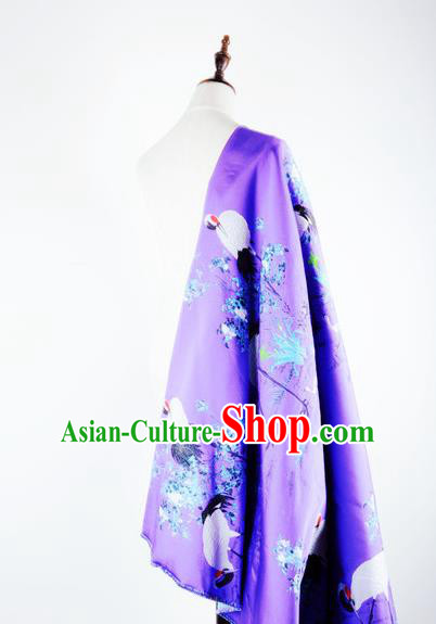 Chinese Traditional Costume Royal Palace Jacquard Weave Crane Purple Brocade Fabric, Chinese Ancient Clothing Drapery Hanfu Cheongsam Material