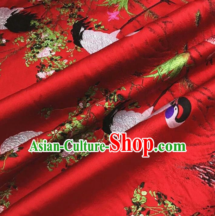 Chinese Traditional Costume Royal Palace Jacquard Weave Crane Red Brocade Fabric, Chinese Ancient Clothing Drapery Hanfu Cheongsam Material