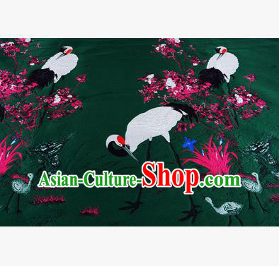 Chinese Traditional Costume Royal Palace Jacquard Weave Crane Deep Green Brocade Fabric, Chinese Ancient Clothing Drapery Hanfu Cheongsam Material