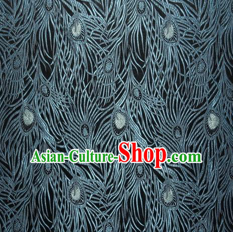 Chinese Traditional Costume Royal Palace Blue Peacock Feather Pattern Black Satin Brocade Fabric, Chinese Ancient Clothing Drapery Hanfu Cheongsam Material