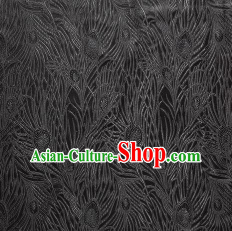 Chinese Traditional Costume Royal Palace Peacock Feather Pattern Black Satin Brocade Fabric, Chinese Ancient Clothing Drapery Hanfu Cheongsam Material