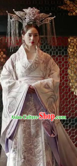 Traditional Chinese Tang Dynasty Palace Lady Costume and Headpiece Complete Set, China Ancient Empress Embroidered Clothing for Women