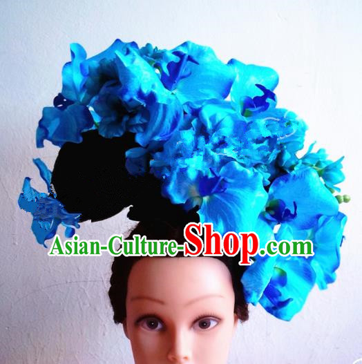 Asian Traditional China Blue Flowers Headpiece and Wig Model Show Headdress Ceremonial Occasions Handmade Hair Accessories