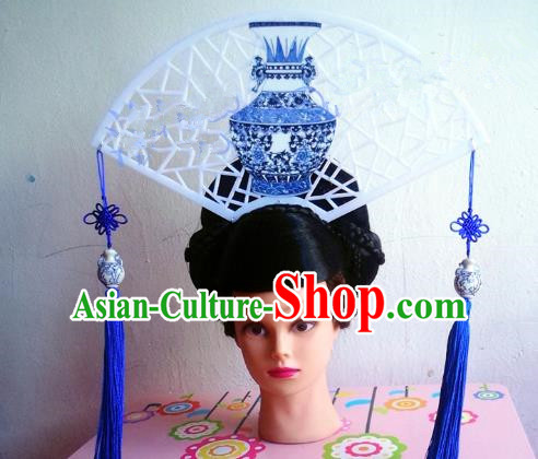 Asian Traditional China Tassel Headpiece Model Show Headdress Ceremonial Occasions Handmade Hair Accessories