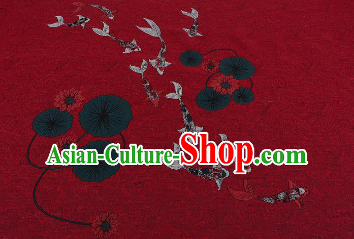 Chinese Traditional Costume Royal Palace Jacquard Weave Red Brocade Fabric, Chinese Ancient Clothing Drapery Hanfu Cheongsam Material