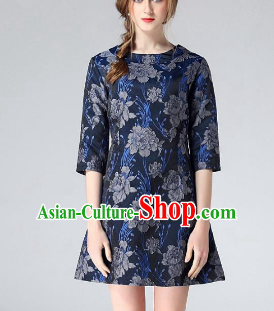 Chinese Traditional Costume Royal Palace Navy Peony Jacquard Weave Brocade Fabric, Chinese Ancient Clothing Drapery Hanfu Cheongsam Material