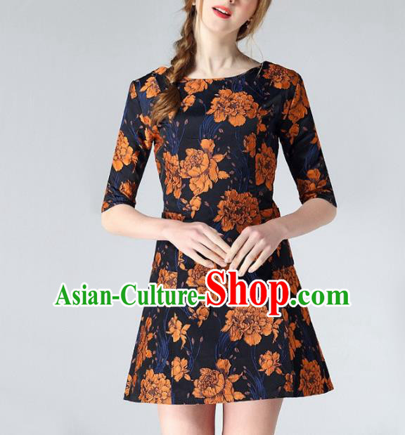 Chinese Traditional Costume Royal Palace Yellow Peony Jacquard Weave Brocade Fabric, Chinese Ancient Clothing Drapery Hanfu Cheongsam Material