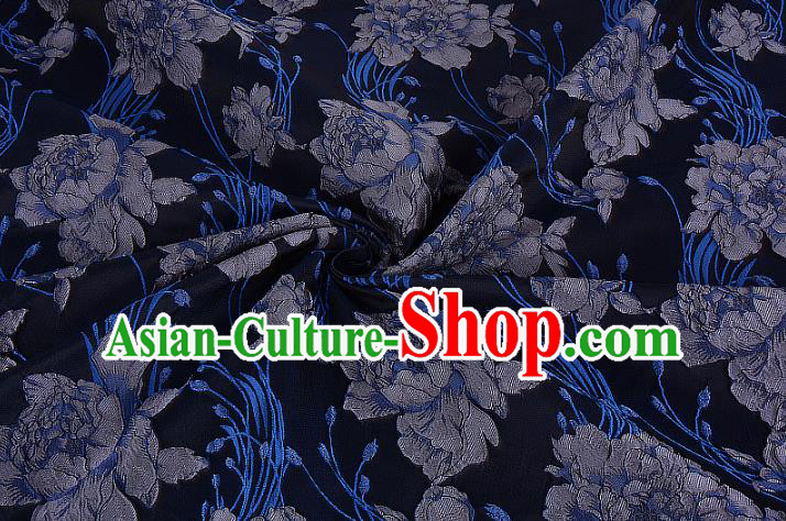 Chinese Traditional Costume Royal Palace Jacquard Weave Rose Navy Brocade Fabric, Chinese Ancient Clothing Drapery Hanfu Cheongsam Material