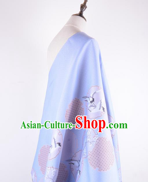 Chinese Traditional Costume Royal Palace Printing Crane Blue Brocade Fabric, Chinese Ancient Clothing Drapery Hanfu Cheongsam Material