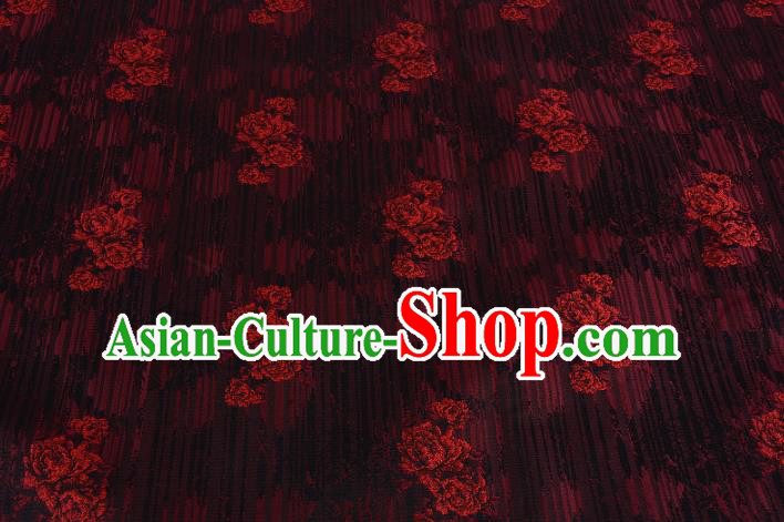 Chinese Traditional Costume Royal Palace Rose Pattern Red Brocade Fabric, Chinese Ancient Clothing Drapery Hanfu Cheongsam Material