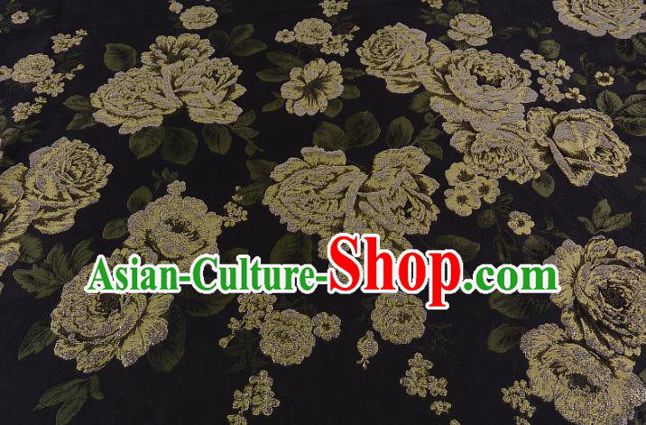 Chinese Traditional Costume Royal Palace Jacquard Weave Peony Black Brocade Fabric, Chinese Ancient Clothing Drapery Hanfu Cheongsam Material
