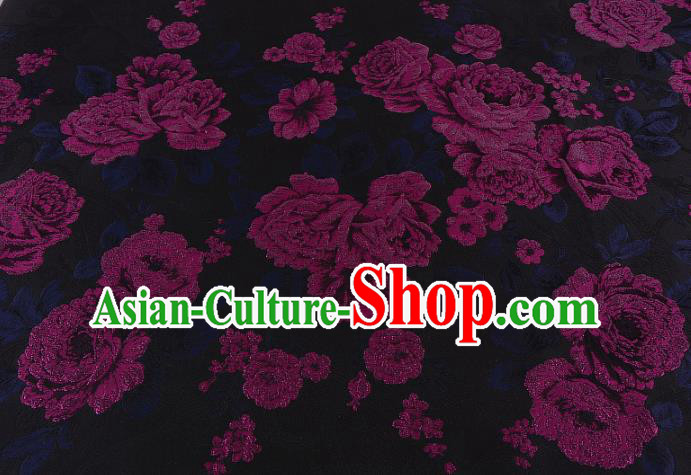 Chinese Traditional Costume Royal Palace Jacquard Weave Rosy Peony Brocade Fabric, Chinese Ancient Clothing Drapery Hanfu Cheongsam Material