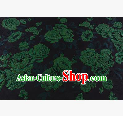 Chinese Traditional Costume Royal Palace Jacquard Weave Green Peony Brocade Fabric, Chinese Ancient Clothing Drapery Hanfu Cheongsam Material