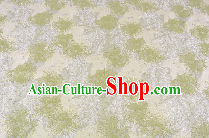 Chinese Traditional Costume Royal Palace Jacquard Weave Pine Needles Green Brocade Fabric, Chinese Ancient Clothing Drapery Hanfu Cheongsam Material