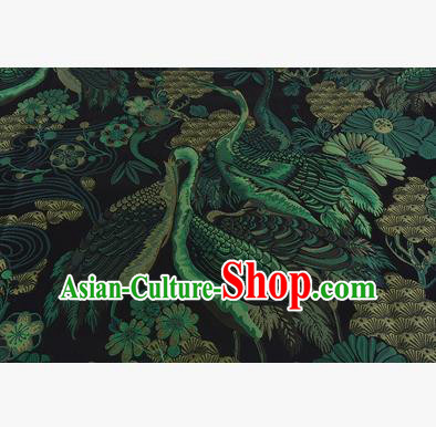 Chinese Traditional Costume Royal Palace Jacquard Weave Green Crane Brocade Fabric, Chinese Ancient Clothing Drapery Hanfu Cheongsam Material