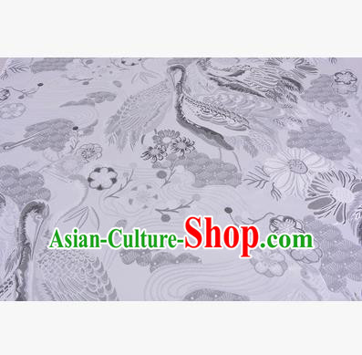 Chinese Traditional Costume Royal Palace Jacquard Weave White Crane Brocade Fabric, Chinese Ancient Clothing Drapery Hanfu Cheongsam Material