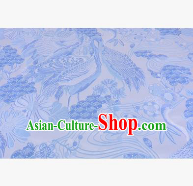 Chinese Traditional Costume Royal Palace Jacquard Weave Blue Crane Brocade Fabric, Chinese Ancient Clothing Drapery Hanfu Cheongsam Material