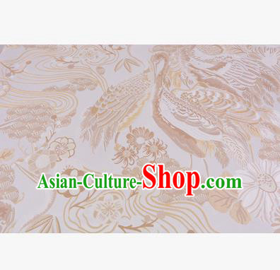 Chinese Traditional Costume Royal Palace Jacquard Weave Golden Crane Brocade Fabric, Chinese Ancient Clothing Drapery Hanfu Cheongsam Material