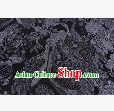 Chinese Traditional Costume Royal Palace Jacquard Weave Black Crane Brocade Fabric, Chinese Ancient Clothing Drapery Hanfu Cheongsam Material