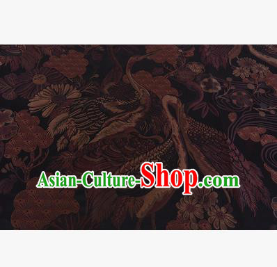 Chinese Traditional Costume Royal Palace Jacquard Weave Brown Crane Brocade Fabric, Chinese Ancient Clothing Drapery Hanfu Cheongsam Material