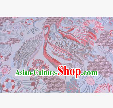 Chinese Traditional Costume Royal Palace Jacquard Weave Crane Brocade Fabric, Chinese Ancient Clothing Drapery Hanfu Cheongsam Material