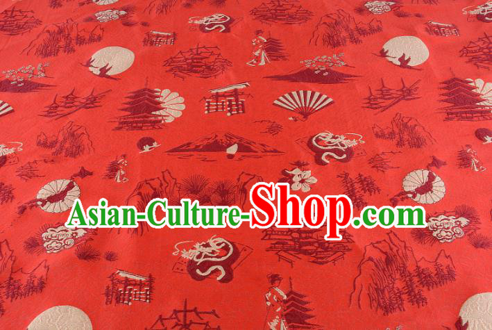 Chinese Traditional Costume Royal Palace Pattern Red Brocade Fabric, Chinese Ancient Clothing Drapery Hanfu Cheongsam Material