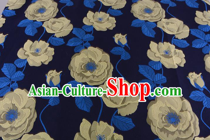 Chinese Traditional Costume Royal Palace Yellow Flowers Pattern Fabric, Chinese Ancient Clothing Drapery Hanfu Cheongsam Material