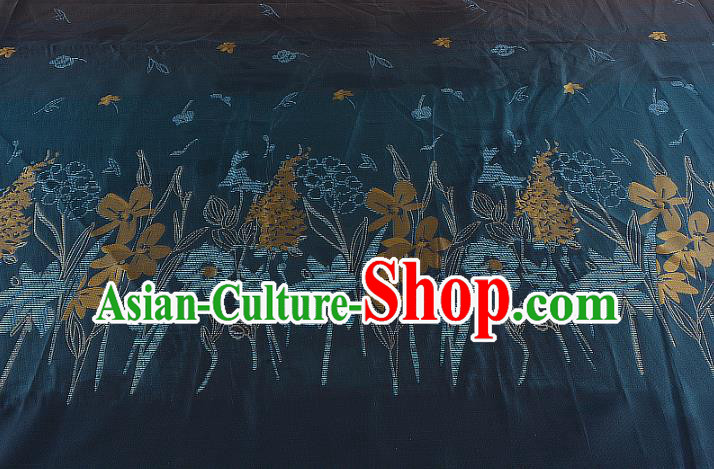Chinese Traditional Costume Royal Palace Printing Atrovirens Brocade Fabric, Chinese Ancient Clothing Drapery Hanfu Cheongsam Material
