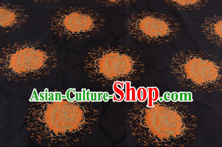 Chinese Traditional Costume Royal Palace Printing Rose Black Brocade Fabric, Chinese Ancient Clothing Drapery Hanfu Cheongsam Material