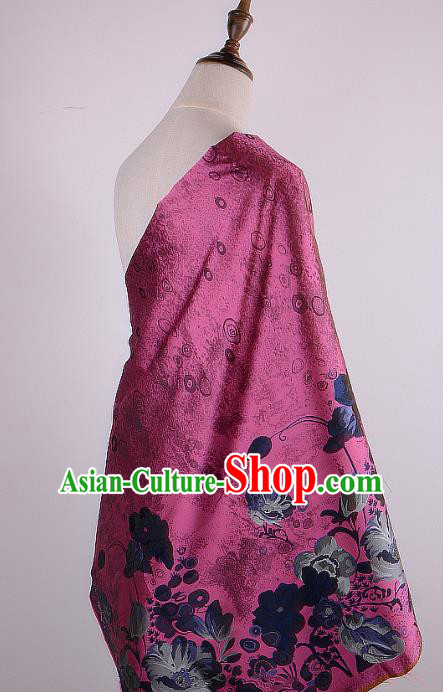 Chinese Traditional Costume Royal Palace Printing Lotus Rosy Brocade Fabric, Chinese Ancient Clothing Drapery Hanfu Cheongsam Material
